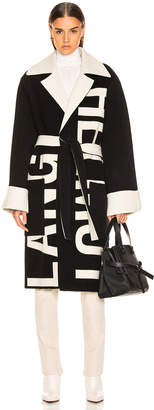 Helmut Lang Logo Coat in Black & Natural White | FWRD