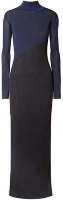 La Ligne Mel Two-tone Metallic Ribbed-knit Maxi Dress