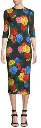 b2828c09f036 Alice + Olivia Delora Fitted Floral Crewneck Dress