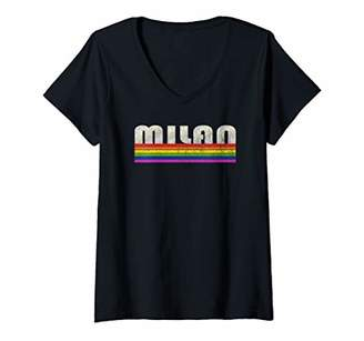 Womens Vintage 80's Style Milan Gay Pride Month V-Neck T-Shirt
