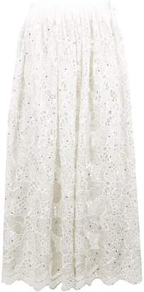 Ashish lace leaf gathered maxi skirt
