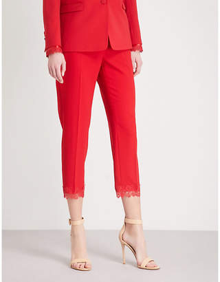 The Kooples Lace-trim straight crepe trousers
