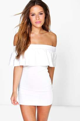 boohoo Petite Bandeau Frill Bardot Bodycon Dress