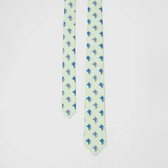 Burberry Slim Cut Equestrian Knight Print Silk Tie