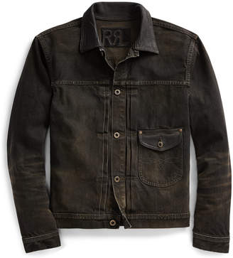 Ralph Lauren Leather-Trim Selvedge Jacket
