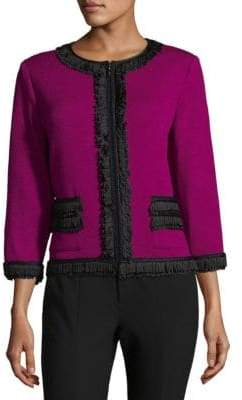 St. John Rib-Knit Zippered Jacket