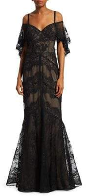 Teri Jon by Rickie Freeman Cold Shoulder Lace Mermaid Dress