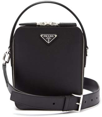 Prada Bandoliera Saffiano Leather Cross Body Bag - Mens - Black
