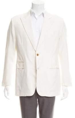 Hermes Silk & Linen-Blend Peaked-Lapel Blazer