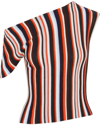 Jacquemus - One-shoulder Striped Wool Top - Red $400 thestylecure.com