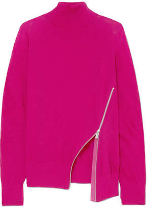 Sacai Zip-detailed Wool Turtleneck Sweater - Fuchsia