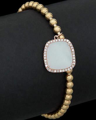 Meira T Silver & Brass 2.50 Ct. Tw. Diamond & Quartz Stretch Bracelet