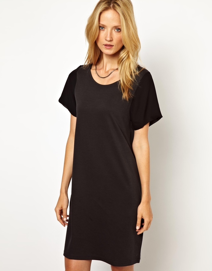 Selected Hatika Jersey Dress with Woven Sleeve