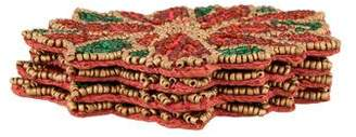 Kim Seybert Set of 4 Beaded Poinsettia Coasters