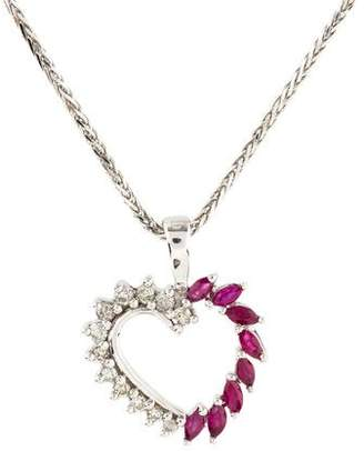 14K Ruby & Diamond Heart Pendant Necklace