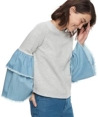 K Lab k/lab Contrast Tiered Denim Bell Sleeve Sweatshirt