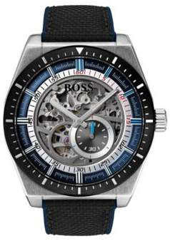 BOSS Hugo Multi-automatic skeleton watch black-fabric strap One Size Assorted-Pre-Pack