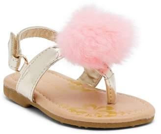 Laura Ashley Faux Fur Pompom Sandal (Toddler)