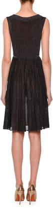 Missoni Sleeveless Metallic Knit Fit-and-Flare Mini Dress