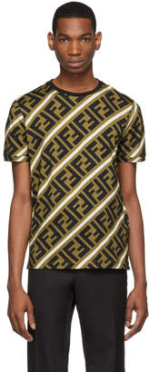 Fendi Brown and Black All Over Forever T-Shirt