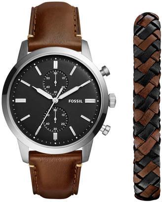 Fossil Men's Chronograph Townsman Dark Brown Leather Strap Watch 44mm Gift Set