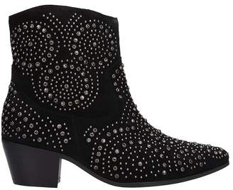 The Seller Black Suede Texan Ankle Boots