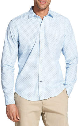 Izod Slim Saltwater Blues Long Sleeve Button-Front Shirt