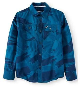 Tony Hawk Long Sleeve Button Down All Over Print Shirt (Big Boys)
