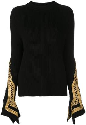 Oscar de la Renta embroidered cuffs jumper