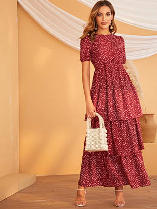 Shein Confetti Heart Print Puff Sleeve Layered Hem Dress
