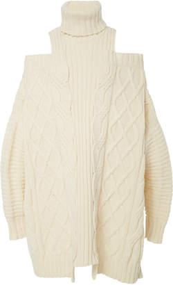 Monse Cold Shoulder Fisherman Wool Sweater