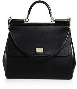 Dolce & Gabbana Women's Large Sicily Leather Top Handle Bag