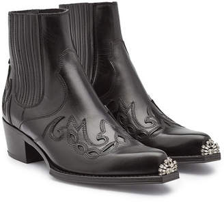 Calvin Klein Cal Calveta Leather Ankle Boots