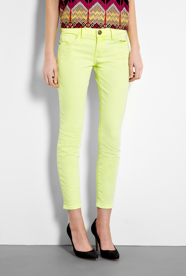 CURRENT/ELLIOTT Washed Neon Yellow Stiletto Skinny