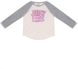 Juicy Couture Varsity Butterflies Velour Sleeve Tee for Girls