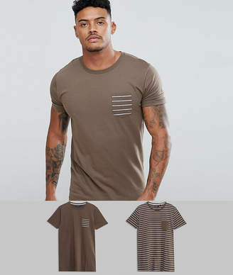 Brave Soul 2 Pack Stripe And Plain T-Shirt