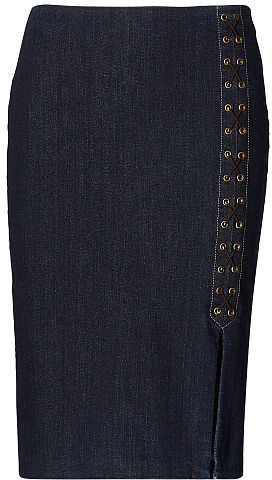 Ralph Lauren Lauren Lace-Up Denim Pencil Skirt