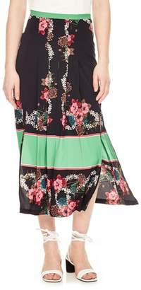 Sandro Floral Pleat Midi Skirt