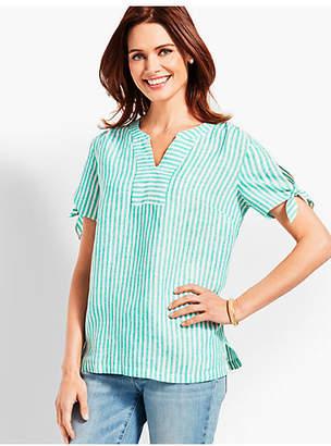 Talbots Stripe Linen Tie-Sleeve Shirt