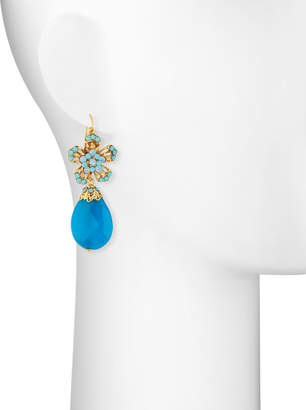 Jose & Maria Barrera Jade & Crystal Flower Drop Earrings