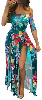 WO-STAR Women Plus Size Sexy Floral Print Off Shoulder Front Slit Long Romper Maxi Dress Darkblue L