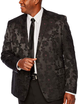 SHAQUILLE O'NEAL Shaquille ONeal XLG Black and Burgundy Floral Sport Coat - Big and Tall