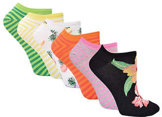 Hue Six-Pair Assorted Liner Socks