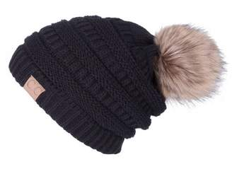 5896d1b225c YJWAN Women Winter Pom Pom Beanie Hat Fleece Lining Knit Faux Fur Slouchy  Ski Cap