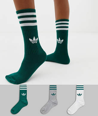 adidas 3 pack solid crew socks in green