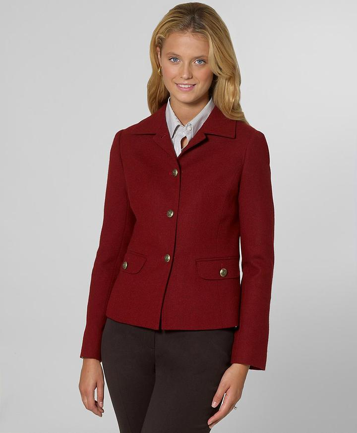 Melange Jacket with Brass Buttons