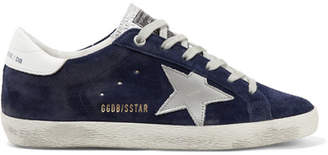 Golden Goose Superstar Distressed Suede And Leather Sneakers - Navy