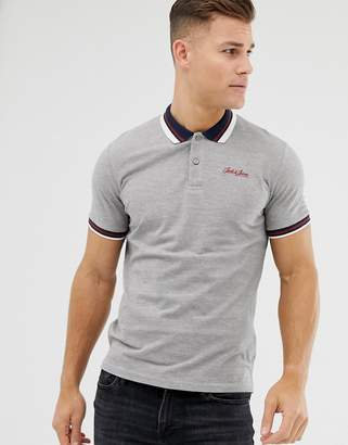 Jack and Jones Originals polo with tipped collar in grey