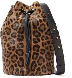 Jerome Dreyfuss Popeye Leopard-Print Calf Hair Bucket Bag
