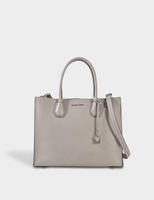 MICHAEL Michael Kors Mercer Large Convertible Tote Bag in Pearl Grey Pebbled Leather